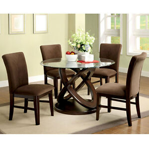 Atwood Contemporary Style Round Glass Top Espresso Finish Dining Table Set