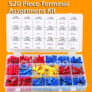 520 Piece Wire Terminal Assortment Kit - Auto Wiring Spade Butt Ring Connectors
