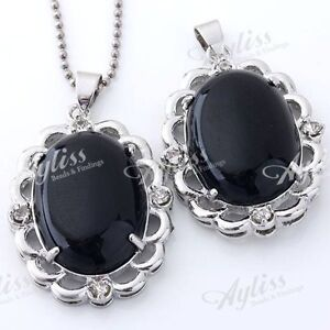 Black Agate Gem Lace Oval Bead Pendant Necklace-NEW!!