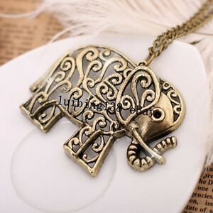 N095 NEW  Fashion Retro Vintage Bronze Elephant Pendant Necklace Gift