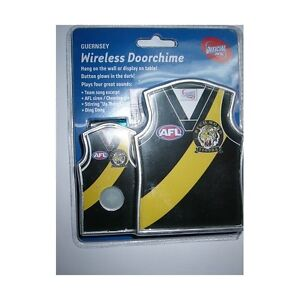 AFL RICHMOND TIGERS GUERNSEY WIRELESS DOORCHIME DOORBELL GLOW IN DARK BUTTON