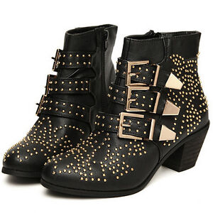 Womens-PU-Leather-Punk-Studded-Buckle-Low-Heel-Rocker-Cowboy-Ankle-Boots-Shoes
