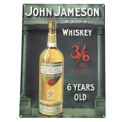 Historical Jameson Whiskey Metal Bar Sign - Vintage Pub Liquor Drinking Decor