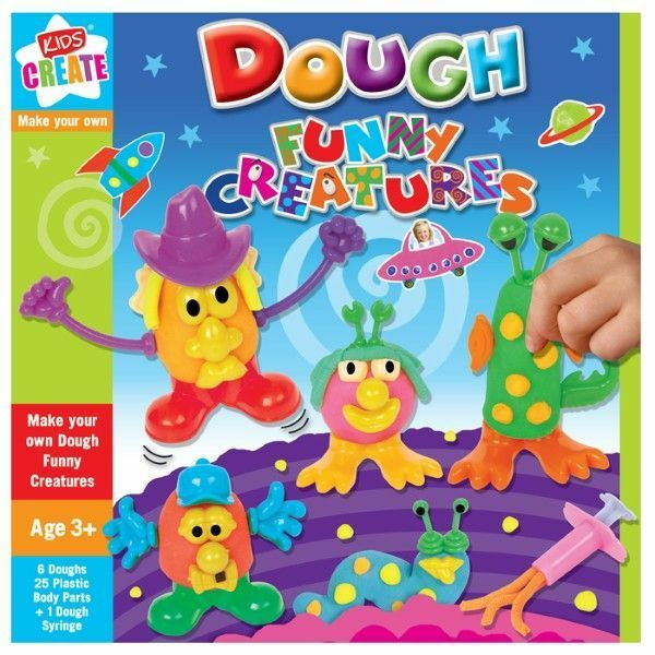 KIDS CREATE FUNNY CREATURES 6 PLAY DOUGH CLAY 25 BODY PARTS & SYRINGE GUN CRAFT