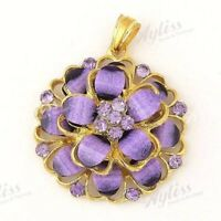Violet 2 Layer Flower Resin Crystal  Necklace Pendant--NEW!!