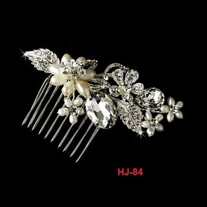 BRIDAL WEDDING CRYSTAL PEARL RHINESTONES DIAMANTE HAIR COMB CLIP SLIDE UK SELLER