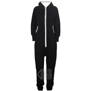 UNISEX MENS WOMENS HOODED ZIP ONESIE PLAYSUIT ADULTS ALL IN ONE PIECE JUMPSUIT