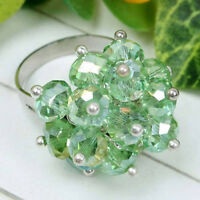 Green Crystal Rhinestone Glass Faceted Beads Adjustable Ring-NEW