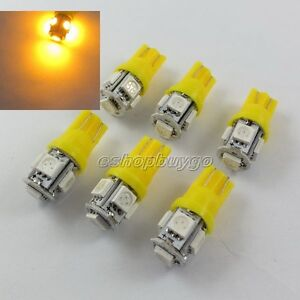 6x-T10-194-168-2825-5-x-5050-SMD-LED-Yellow-Super-Bright-Car-Lights-Lamp-Bulb