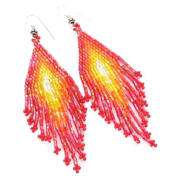 Iris Red Yellow Seed Beaded Earrings Handmade Bead Jewelry E27/9
