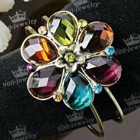 Unique flower Swarovski Crystal Cuff Bangle Bracelet---NEW!