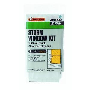 2 Pk Storm Window Kit Clear Plastic Sheet 3 W x 6 H x 1 25