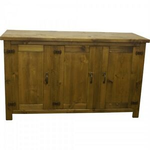 NEW-SOLID-WOODEN-SIDEBOARD-DRESSER-BASE-CUPBOARD-RUSTIC-PLANK-PINE-FURNITURE