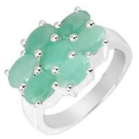 BRAND NEW RING WITH EMERALDS CRAFTED IN STERLING SILVER