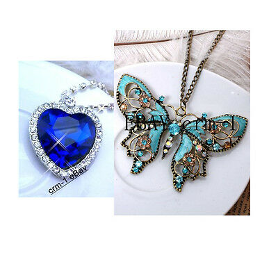 Wholesale sale 2PCS  Titanic Pendant Blue necklace + Diyou Blue Butterfly N208 on Rummage