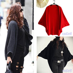 Womens-Batwing-Dolman-Cropped-Cardigan-Sweater-Knit-Bolero-Poncho-Cape-Coat-New