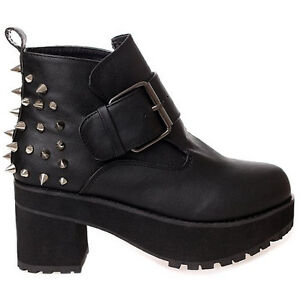 Spike-Studded-Punk-Womens-Black-Block-Heels-Round-Toe-Buckle-Ankle-Boot-Shoe-2-6