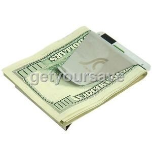 Slim-Money-Clip-Double-Sided-Credit-Card-Holder-Wallet-Steel