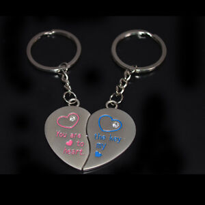 1 Pair Romantic Solid Love Heart Couple Key Ring Keychain Keyfob Lover Gift 7703