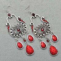 Swarovski Crystal Tibet Silver Dangle Earrings--red--NEW!!!