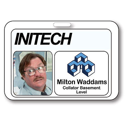 MILTON WADDAMS NAME BADGE HALLOWEEN COSTUME PROP OFFICE SPACE TV SHOW STRAPCLIP