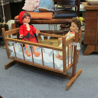 VINTAGE WOOD DOLL CRADLE DISPLAY YOUR COLLECTION PROP TOYS