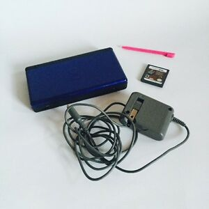 Blue & Black Nintendo DS Lite with Charger, Stylus, and Game