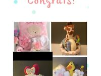Baby shower nappy cakes and hampers