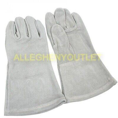 Us Military Hawkeye Heavy Duty Cowhide Leather Welders Gauntlet Gloves Grey Exc