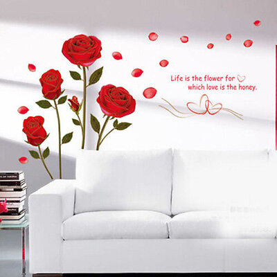 Removeable Red Rose Flowers Wall Sticker Decal Vinyl DIY Art Home Room Decor US