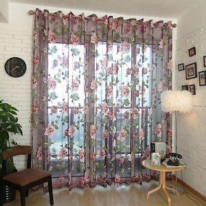 250x100cm-Flower-Tulle-Voile-Door-Window-Curtain-Drape-Panel-Sheer-Valance