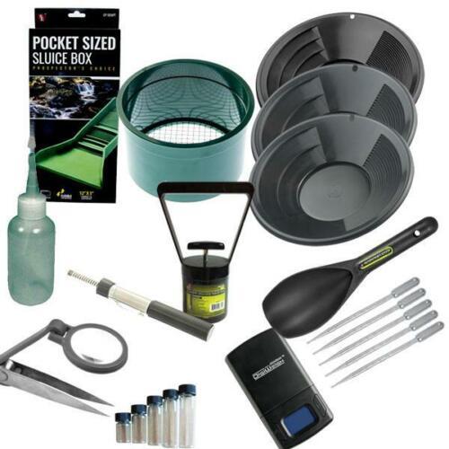 """Gold Panning Kit Set 12"""" 10"""" 8"""" Black Gold Pans Mini Pocket Sluice Box & More"""