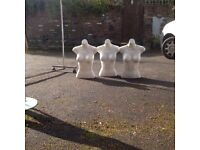 3 Free standing display busts female white suit retailer or home seller