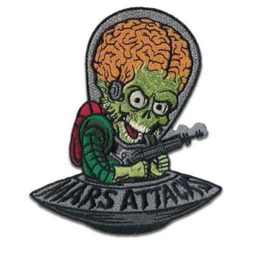 Mars Attacks Patch Iron On Alien Invader Tim Burton Horror Sci Fi Comedy Monster