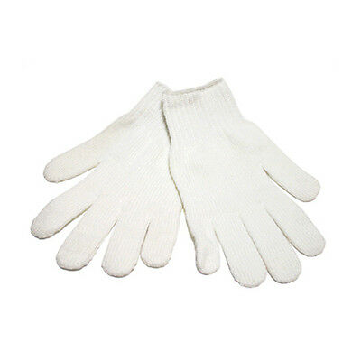 12 Pairs Bleached White Cotton String Knit Gloves 600g- Size Large