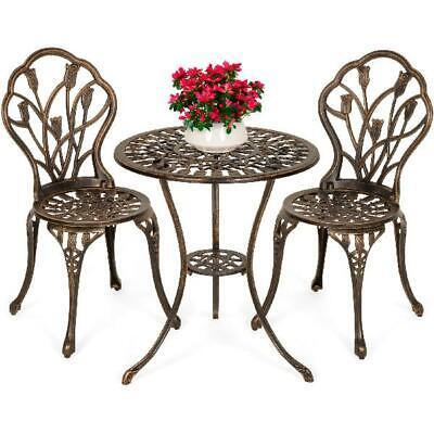Garden Furniture - 3 Pc Patio Bistro Garden Table Set Chairs Antique Furniture Balcony Porch Deck