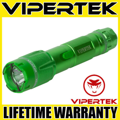 VIPERTEK Stun Gun VTS-T03 GREEN 500 BV Metal Rechargeable LED Flashlight