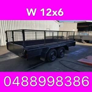 12x6 tandem trailer box trailer w cage full checker plate brakes