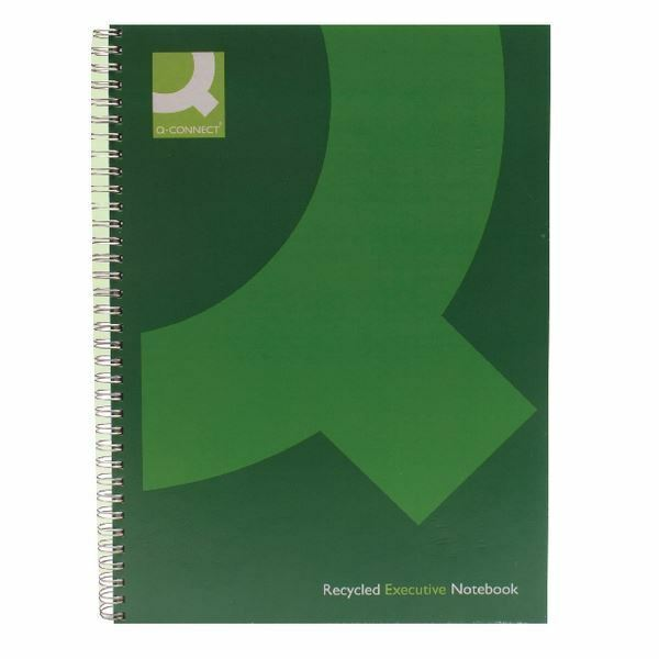 Q-Connect Wirebound A4 Hardback Recycled Notebook 160 Pages Green [KF03731]