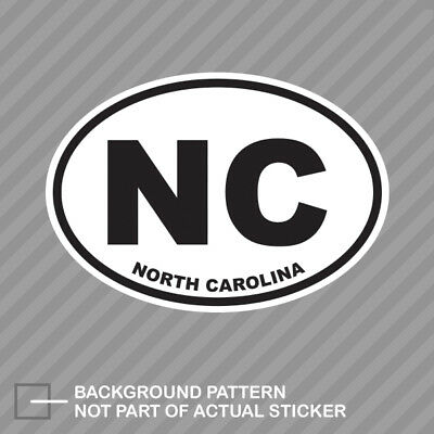 North Carolina State Oval Sticker Decal Vinyl NC