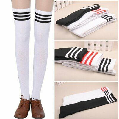 Women Girls Cotton Striped Thigh High Over The Knee Stocking