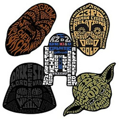 25 Star Wars Shaped  Stickers Party Favors Teacher Supply Yoda Darth Vadar R2D2