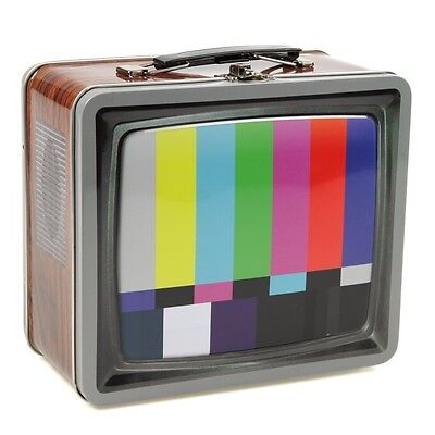 TV Signal SMPTE Color Bars Lunch Box Metal Clasp Vintage Style Tin Tote