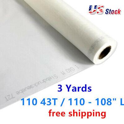 Us Stock 3 Yards White Silk Screen Printing Mesh Fabric 110 43t 110 - 108 L