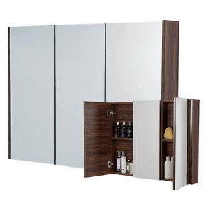 aviva 90cm 3 door walnut bathroom furniture mirror cabinet cupboard