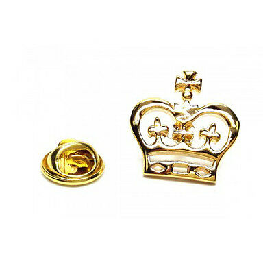 Goldfarbene Detailliert Krone Metall Anstecknadel Royalty Monarch King Queen