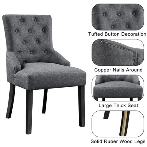 2pcs Dining Chairs Wingback Fabric Chair With Nailhead Trim and Wood Legs, Gray 4