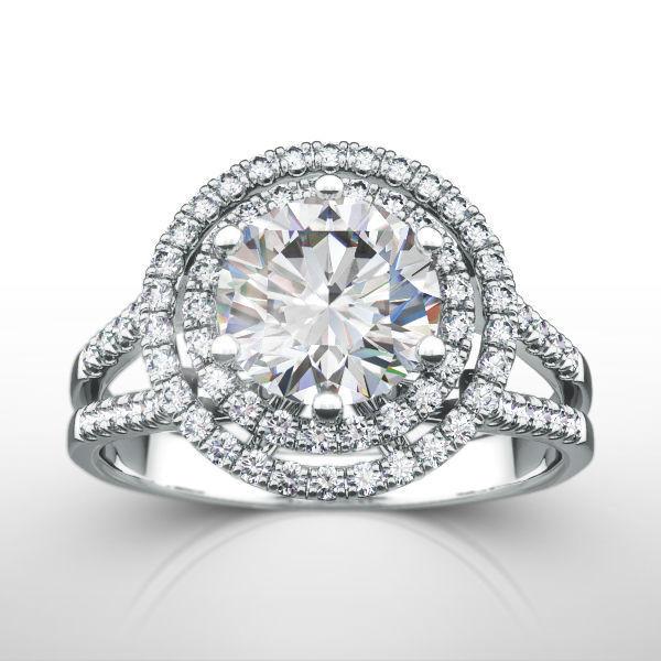 Diamond Ring Halo Colorless Round 14 Kt White Gold Genuine 1.75 Ct Split Shank