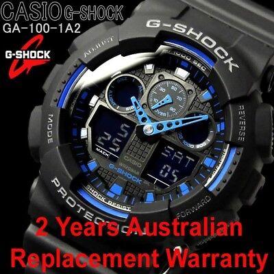 CASIO G-SHOCK MENS WATCH GA-100-1A2 BLACK x BLUE 2-YEARS WARRANTY GA-100-1A2DR for sale  Shipping to Canada