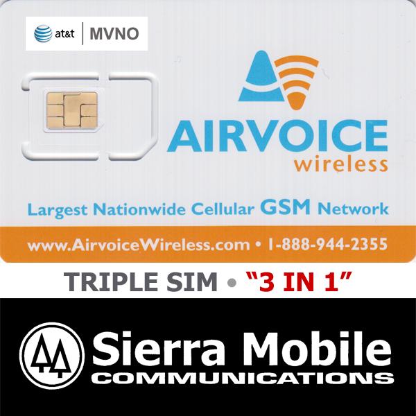 как выглядит SIM-карта для мобильного телефона AIRVOICE Triple SIM MINI + MICRO + NANO • GSM 4GLTE • AT&T Network MVNO NEW фото